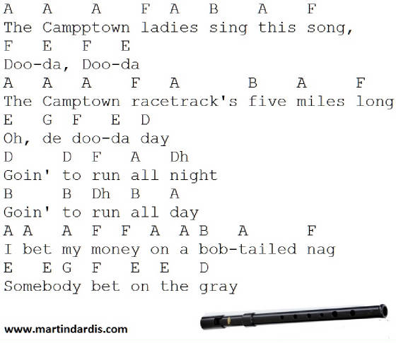 Camptown Races Tin Whistle Music