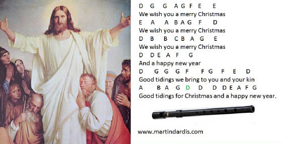 Merry Christmas Tin Whistle Notes