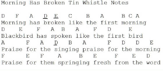 Morning Has Broken Tin Whistle Music
