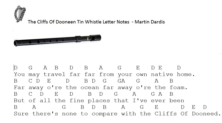 Cliffs Of Dooneed Letter Notes For Whistle