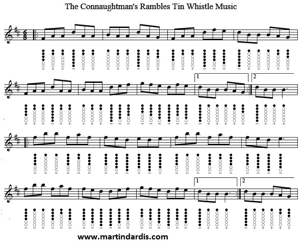 Connaught Rambles Tin Whistle Sheet Music