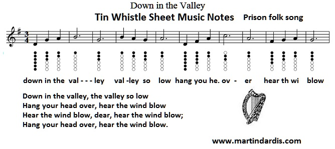 Down in the valley sheet music for tin whistle