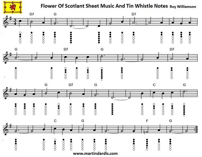 Flower Of Scotland Sheet Music For Tin Whistle