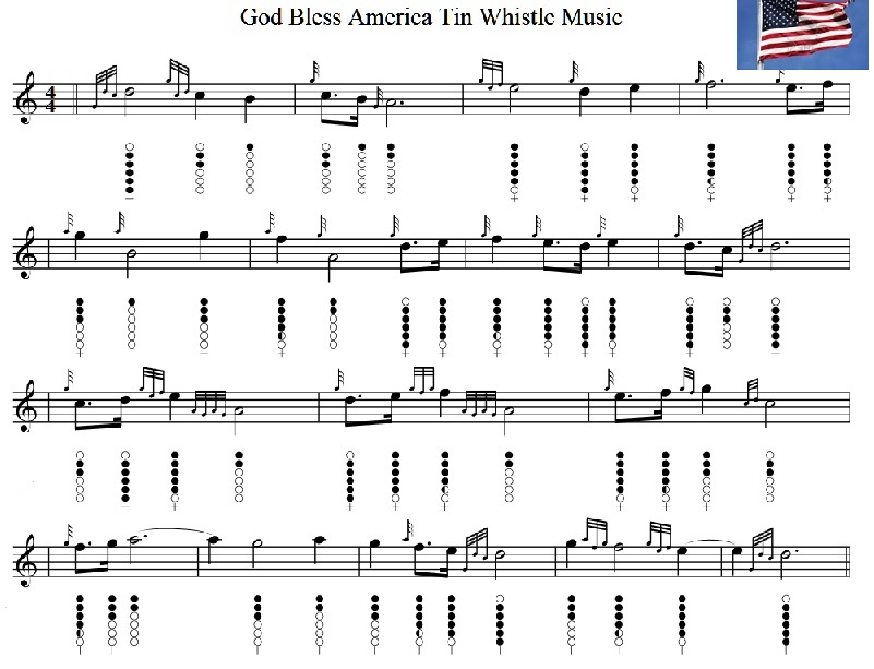 God bless America Tin Whistle