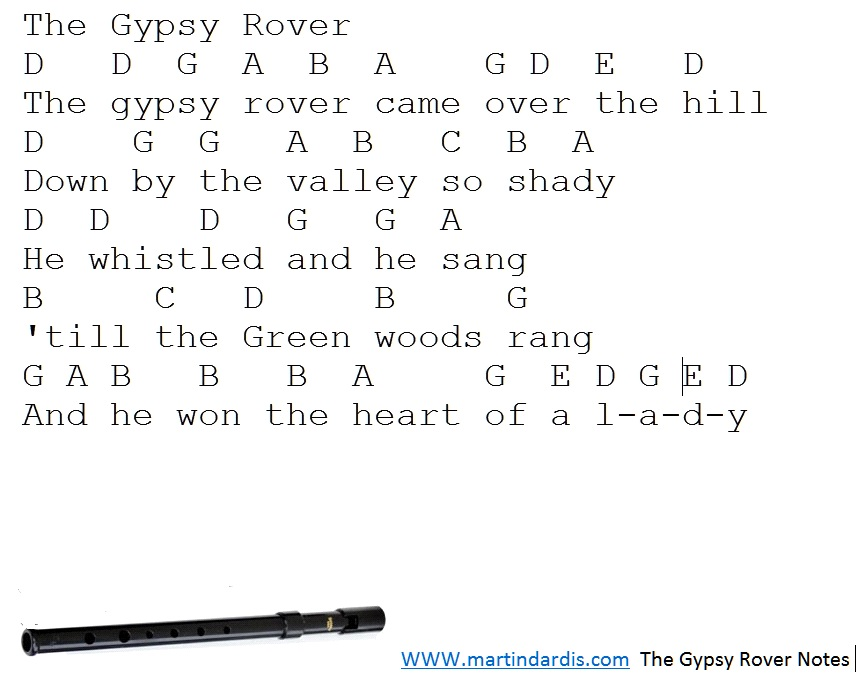 Gypsy Rover Letter Notes For Whistle