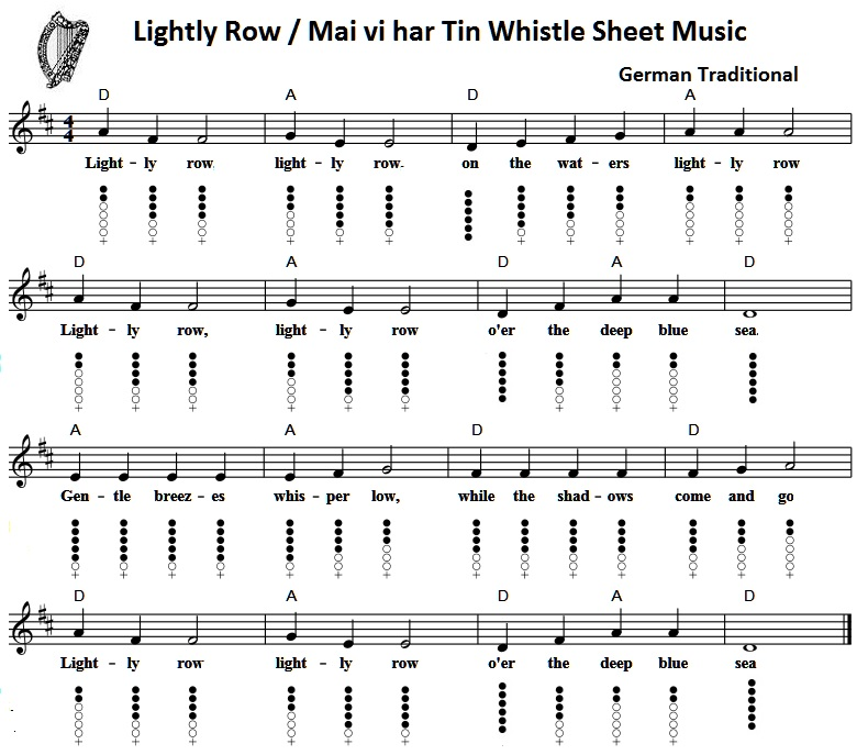 Lightly row tin whistle music