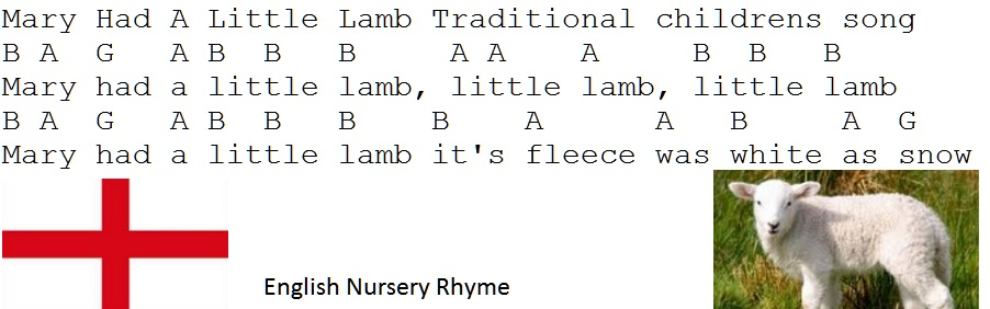 Mary Had A Little Lamb Tin Whistle Music