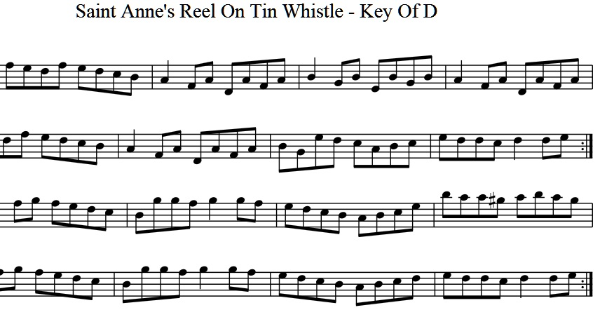 St Annes Reel Tin Whistle Sheet Music
