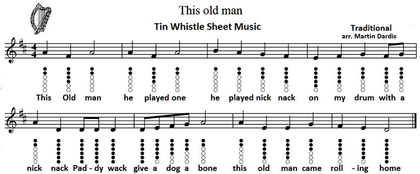 This Old Man sheet music for tin whistle