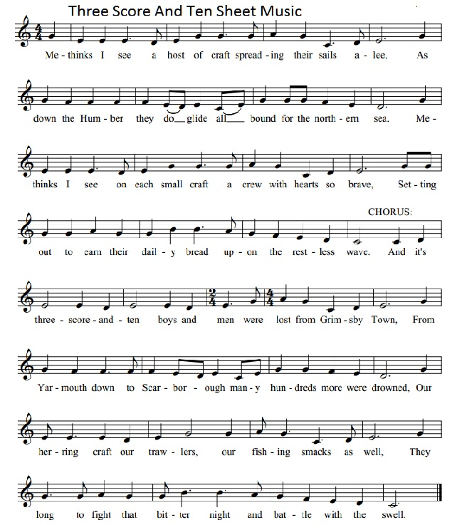 Three Score And Ten Sheet Music Notes