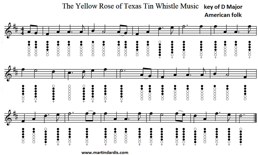 Yellow Rose Of Texas Tin Whistle Sheet Music